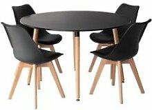 Ensemble table ronde 120cm MARTHA et 4 chaises
