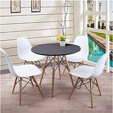 Ensemble table scandinave ronde noire et 4 chaises