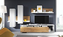 Ensemble TV design blanc et chêne - Bogota