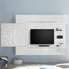 Ensemble TV mural blanc laqué design PAOLO