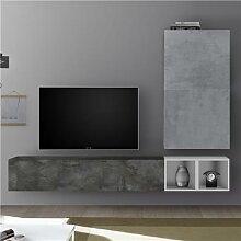 Ensemble TV mural design gris SOLETO