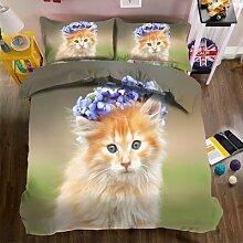 Ensembles de literie 3d violet guirlande chaton