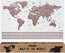 envami Carte du Monde a gratter - 68 X 43 CM - Or