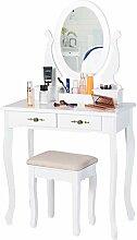 EPHEX Table de Maquillage avec Miroir et Tabouret,