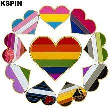 Épingle de drapeau en forme de cœur, badges,