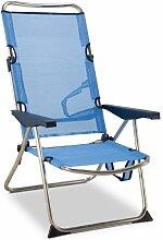EREDU Chaise de camping - 4 positions - Bleu