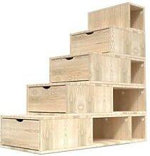 Escalier Cube de rangement hauteur 125 cm Brut