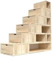 Escalier Cube de rangement hauteur 150cm Brut