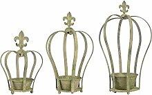 Esschert Am79en métal vieilli Vert Couronne Pot
