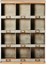 Étagère 12 compartiments en sapin et métal
