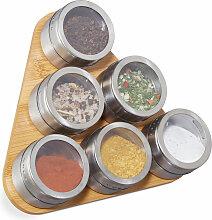 Étagère à épices bambou, 6 pots inox, support