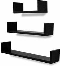 Étagère armoire meuble design 3 murales mdf noir