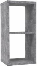 Etagère cube 2 casiers décor béton gris -