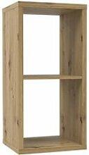 Etagère cube 2 casiers décor bois rustique