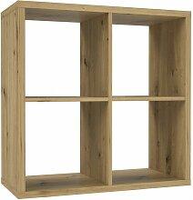 Etagère cube 4 casiers décor bois rustique