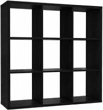 Etagère cube 9 casiers noir mat bibliothèque