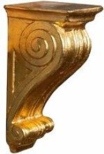 Etagère en bois finition feuille d'or antique