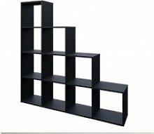 Etagère escalier 10 cases en noir