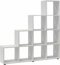 Etagère escalier  10 compartiments blanche
