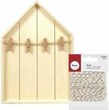 Etagère maison bois 19 x 28 cm + pinces à linge