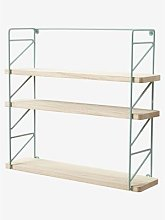 Etagère métal et bois brut 3 niveaux vert