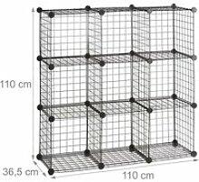 Étagère modulable grille treillis 9 cubes