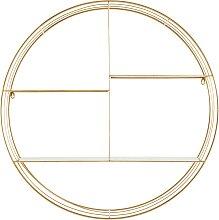 Étagère murale ronde en métal doré