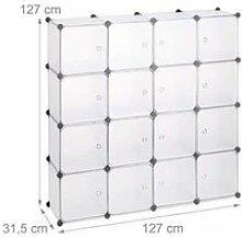 Étagère rangement 16 casiers portes modulable