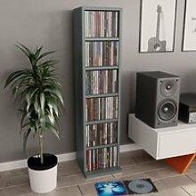 Étagère Rangement CD-DVD Meuble CD Gris 21 x 16