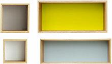 Étagères murales vintage multicolores (x4)