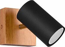 Etc-shop - Applique murale noire en bois naturel