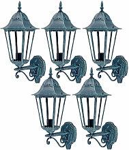 Etc-shop - Lot de 5 lanternes murales LED jardin