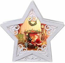 Étoile verre neige Père Noël 25x25x7 cm