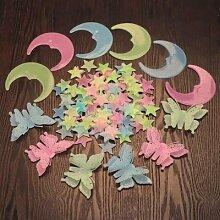 Étoiles 3D phosphorescentes autocollantes pour