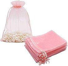 Evazory 100 Pcs GrooE Organza Sacs Blush Rose,