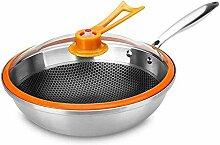 Evazory Poêles à frire Wok en acier inoxydable