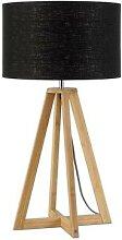 EVEREST-Lampe à poser Bambou & Lin Naturel H34cm
