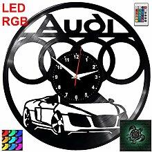 EVEVO Horloge Murale en Vinyle avec LED RVB pour