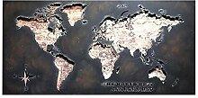 EWADQH Retro LOFT Carte du Monde Creux en Fer