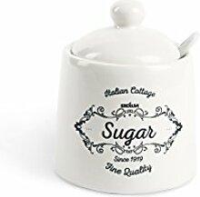 Excelsa Fin Quality Sucrier, céramique, Blanc