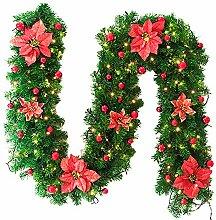 Artificiel épicéa Guirlande 270 cm long-Décoration de Noël Vert pin