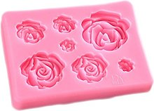Fablcrew Moules silicone patisserie 7 fleurs roses