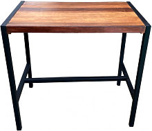 FACTORY - Table haute rectangulaire  acier et bois