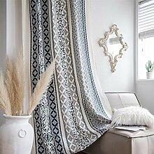 FACWAWF 1 Rideau, Porcelaine Bleue Et Blanche,