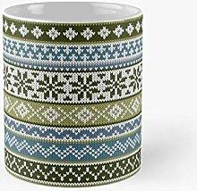 Fair Isle Green-blue Classic Mug Best Gift Funny
