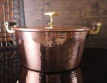 Faitout en cuivre pur - Pot en cuivre martelé à