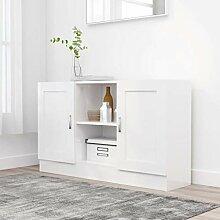 FAMIROSA Buffet Blanc Brillant 120x30,5x70 cm