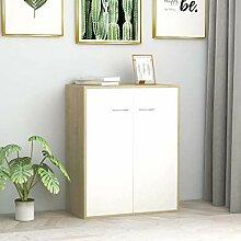 FAMIROSA Buffet Blanc et Chêne Sonoma 60x30x75 cm