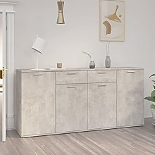 FAMIROSA Buffet Gris béton 160x36x75 cm