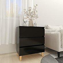 FAMIROSA Buffet Noir 60x35x69 cm Aggloméré-19.1kg